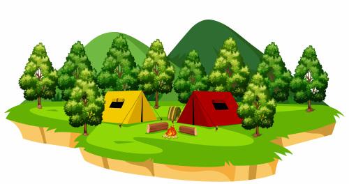 林間のキャンプ場