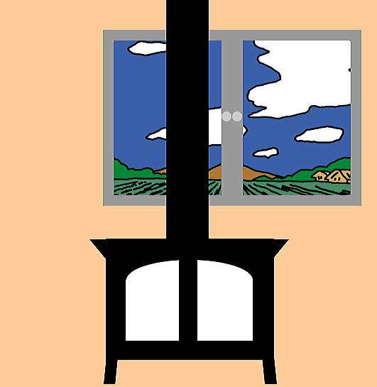 窓の前に薪ストーブを設置すると